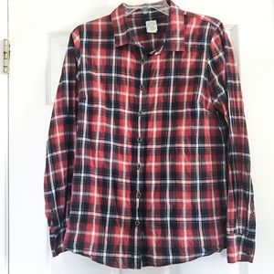 J. Crew The Perfect Shirt Plaid Russet Button Down